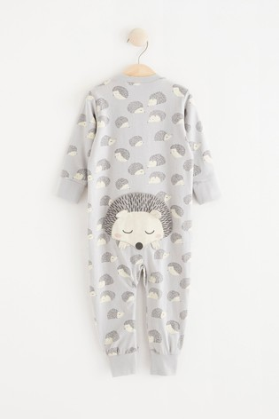 Lindex Grey Hedgehog Zip Sleepsuit (Baby)