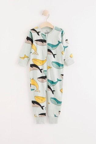 Lindex Whale Print Zip Sleepsuit (Baby)