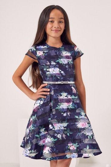 Lipsy Navy Blue Cap Sleeve Belted Dress