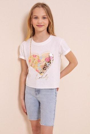 Lipsy White Heart Foil Print T-Shirt