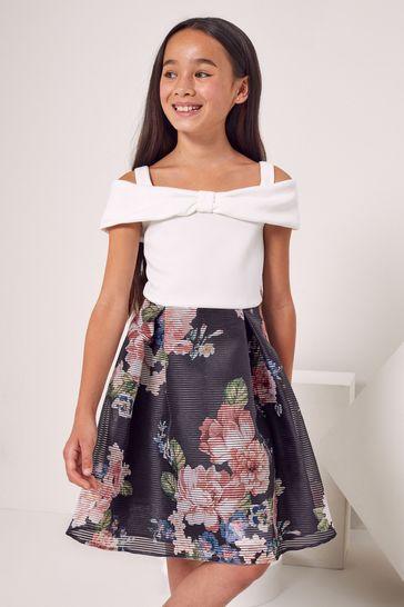 Lipsy Black Bow Detail Skater Dress