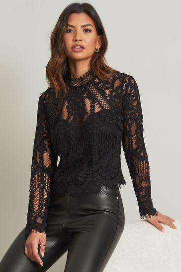 Lipsy Black Premium Lace Long Sleeve Blouse