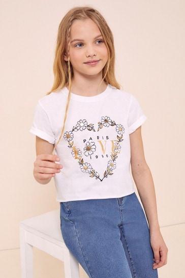 Lipsy White Daisy Heart Foil Print T-Shirt