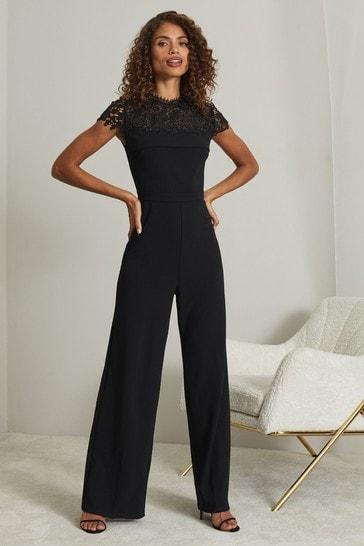 Lipsy Black Lace Yolk Jumpsuit