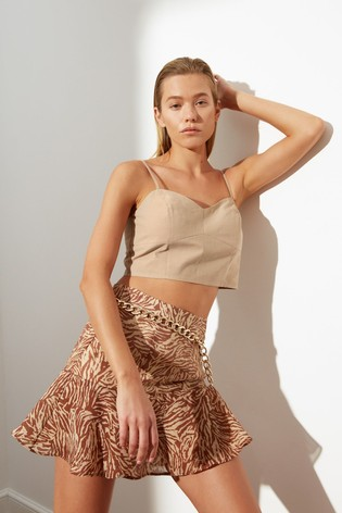 Trendyol Stone Linen Strappy Vest Top