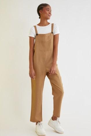 Trendyol Brown Linen Dunagree Jumpsuit