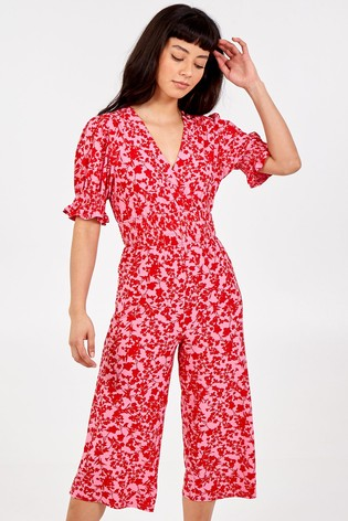 Blue Vanilla Red Wrap Front Short Sleeve Jumpsuit