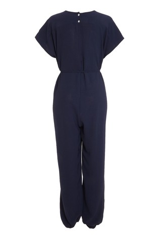 Quiz Navy Tie Belt Tapered Leg Jumpsuit