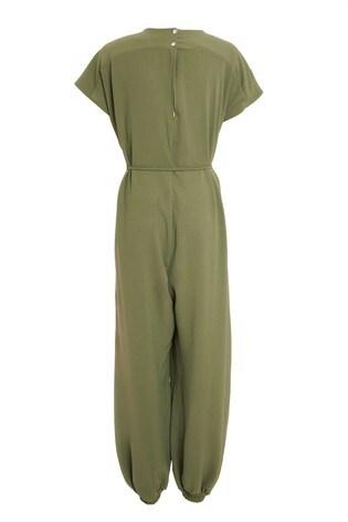 Quiz Green Tie Belt Tapered Leg Jumpsuit