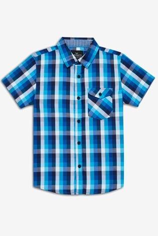 Threadboys Blue Kyle Checked Short Sleeve Shirt
