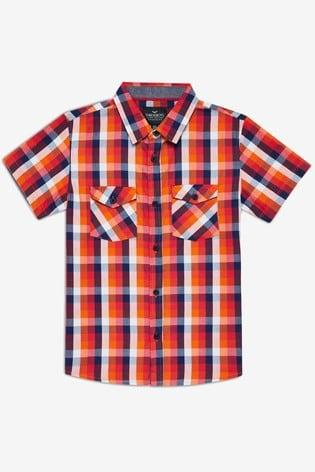 Threadboys Orange Kyle Checked Short Sleeve Shirt