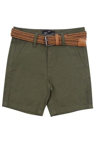 Threadboys Khaki Kale Belted Chino Shorts