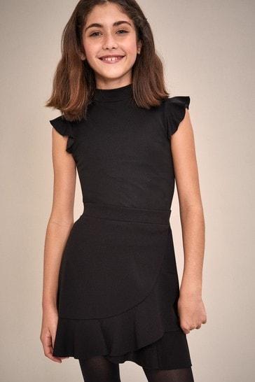 Lipsy Black Black Ponte Frill Skirt
