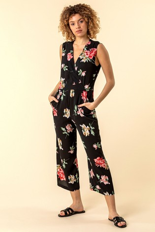Roman Black Wrap Front Floral Print Jumpsuit