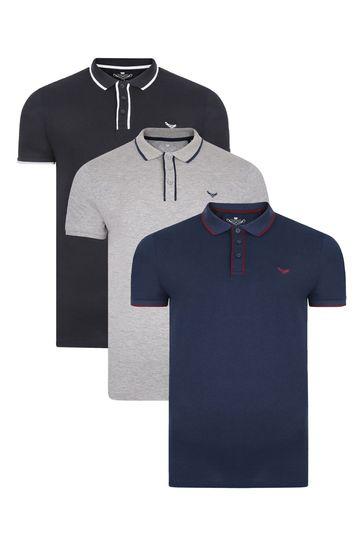 Threadbare BlackGreyNavy Polo T-Shirt Pack Of 3