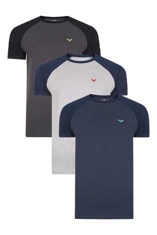 Threadbare BlackGreyNavy 3 Pack Cotton Rich T Shirts