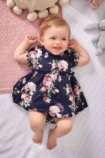 Lipsy Navy Blue Floral Baby Puff Sleeve Dress With Matching Knicker