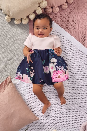 Lipsy Pink And Navy Blue Baby Puff Sleeve Dress With Matching Knicker