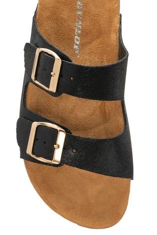 Dunlop Black Ladies Faux Leather Mule Sandals