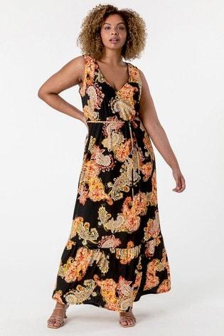 Roman Paisley Print Curve Maxi Dress