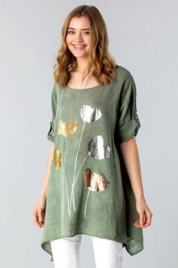 Roman Green Longline Foil Print Tunic Top