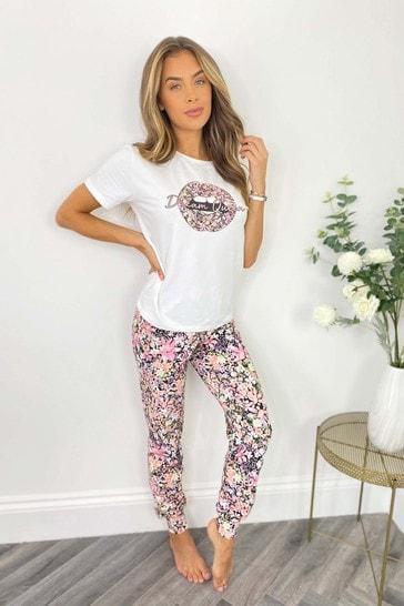 Lipsy White Floral Lips Regular Short Sleeve Pyjama Set