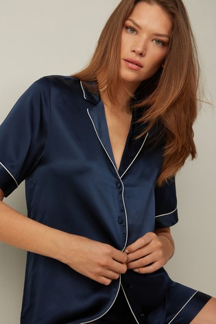 Intimissimi Ink Blue Short-Sleeved Button-Up Silk Satin Shirt with Contrasting Trim