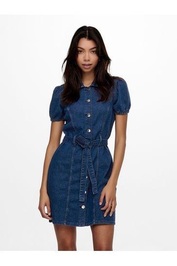 Only Dark Blue Denim Puff Sleeve Belted Denim Dress