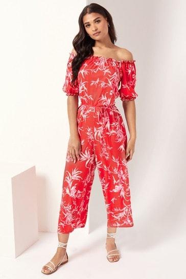 Lipsy Red Printed Bardot Jumpsuit