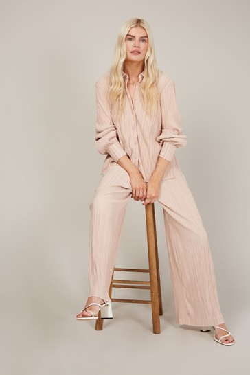 Little Mistress Pink Dusty Pink Plisse Trousers