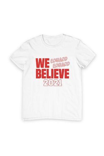 Instajunction White We Believe 2021 England Euros Football Men's T-Shirt