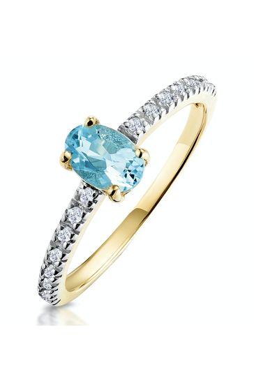 The Diamond Store Aquamarine 0.35CT And Diamond 9K Yellow Gold Ring