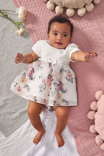 Lipsy White Floral Baby Puff Sleeve Dress With Matching Knicker