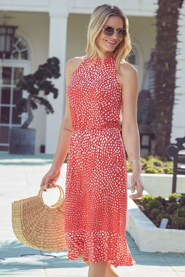 Sosandar Red Halterneck Spot Sun Dress