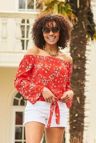 Sosandar Red Daisy Print Tie Front Bardot Top