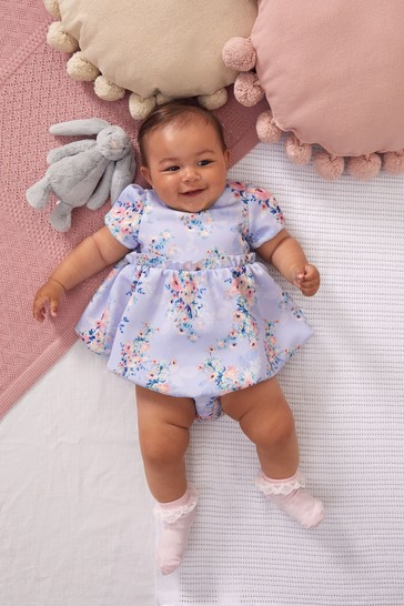 Lipsy Lilac Purple Floral Baby Puff Sleeve Dress With Matching Knicker