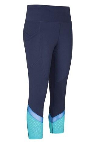Mountain Warehouse Blue Fast-Paced Womens High-Waist Capri Sports Leggings