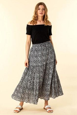Roman Black Animal Print Crinkle Maxi Skirt