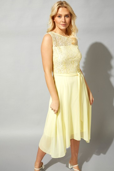 Roman Yellow Lace Detail Fit And Flare Dress