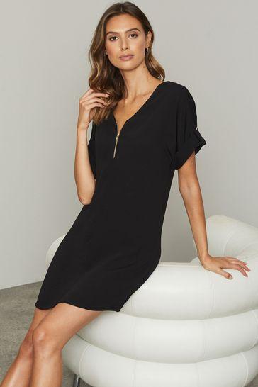 Lipsy Black Utility Zip Front Shift Dress