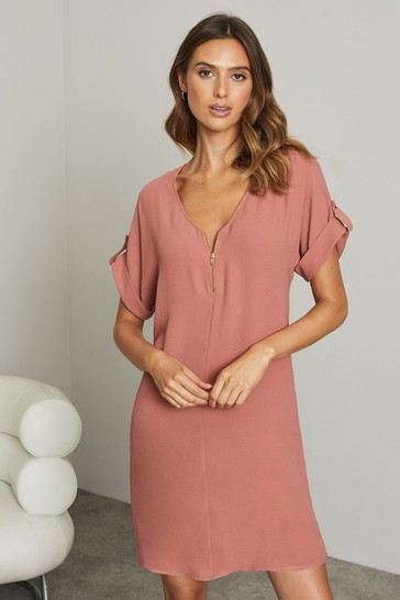 Lipsy Pink Utility Zip Front Shift Dress
