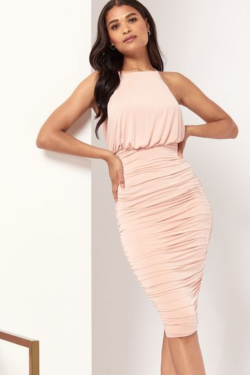 Lipsy Nude Regular Slinky Halterneck Midi Dress