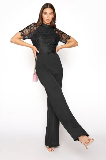 Long Tall Sally Black Lace Sleeve Jumpsuit