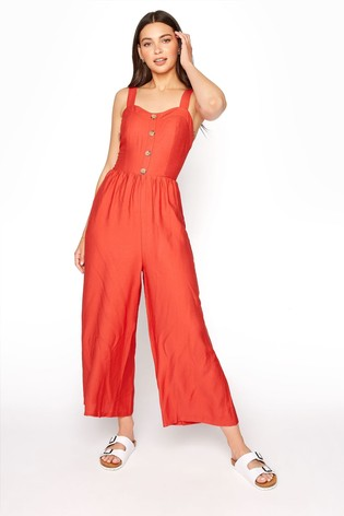 Long Tall Sally Red Button Front Crop Jumpsuit