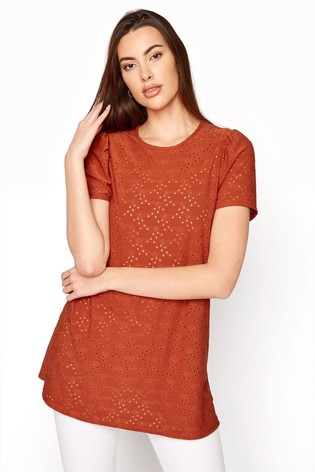 Long Tall Sally Brown Broiderie Puff Sleeve Top