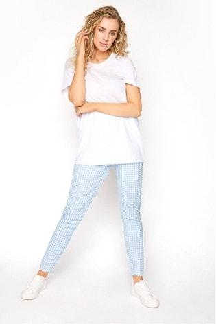 Long Tall Sally Blue Textured Gingham Trouser