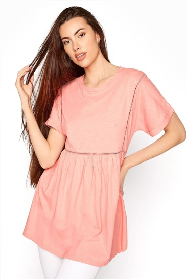Long Tall Sally Pink Ladder Lace Detail Tee