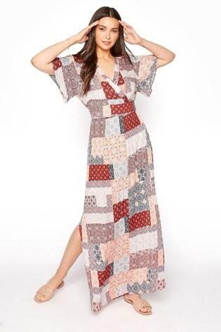 Long Tall Sally Neutral Patchwork Split Side Maxi Dress