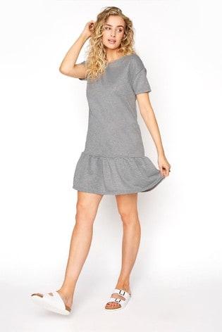 Long Tall Sally Grey Jersey Sweat Frill Hem Dress