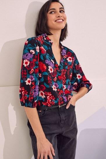 Love & Roses Black Floral Frill Neck Blouse